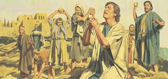 Stoning of Stephen while Saul looks on